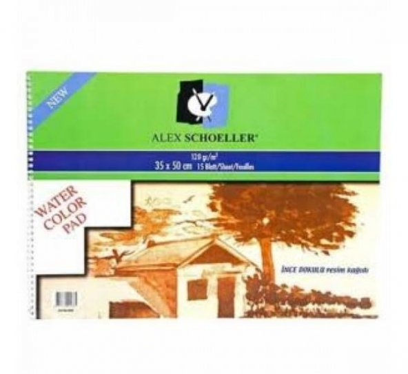 ALEX SCHOELLER SULU BOYA DEFTERI INCE DOKULU 15 35*50cm 120 GR