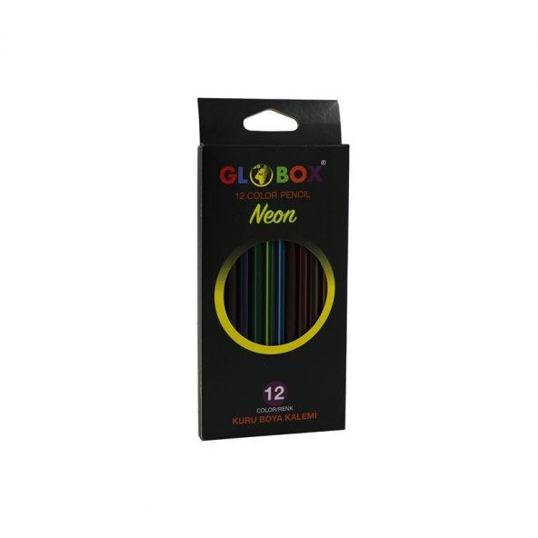 Globox Neon 12 Renk Kuru Boya Kalemi 2588 Uzun