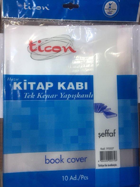 Ticon Hazır Kitap Kabı Şeffaf Renk 10 Lu Tek Kenarı Yapışkanlı