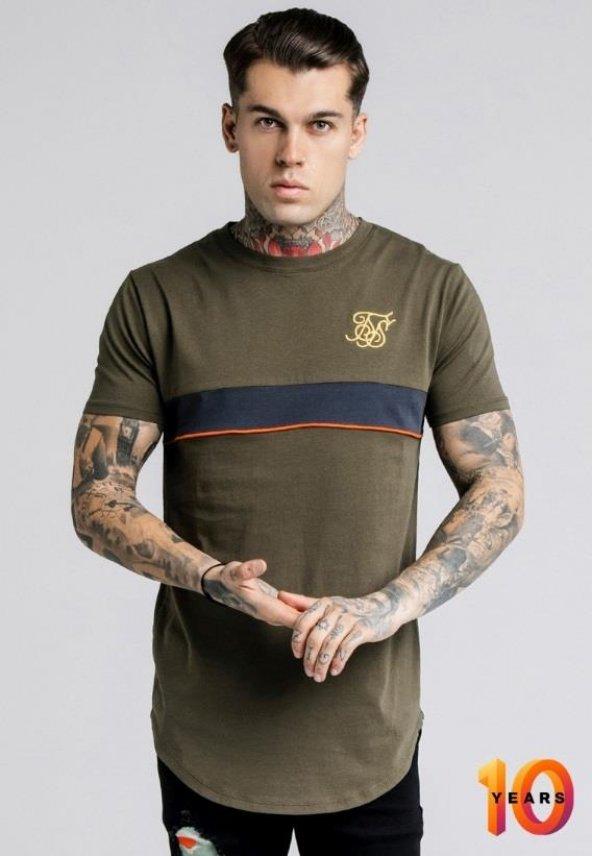 SikSilk Khaki Çizgili Oval Kesim Tişört