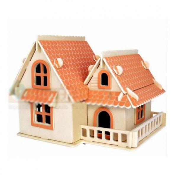 Ahşap Sea-Land Maket Kırmızı Çatılı Villa (3 Tabaka)