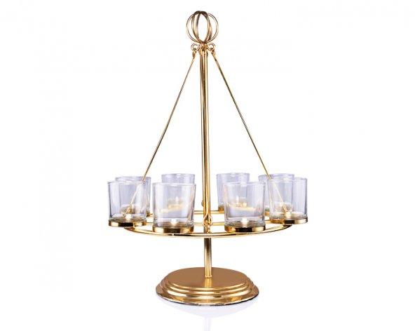 Porio PR24-1006 - Altın Standlı Yuvarlak 8 Bölmeli Cam Mumluk 33*