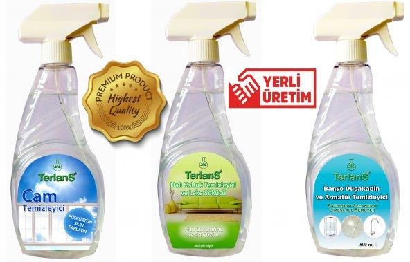 TERLANS 3lü Ev Temizlik Seti - Koltuk Halı Banyo ve Cam Temizleyici - Mikrofiber Bez Hediyeli