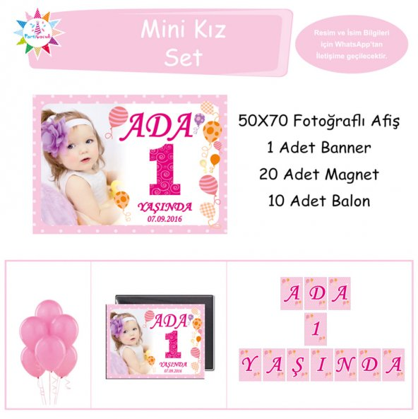 Çizgili Balonlu Mini Set Parti Çocuk