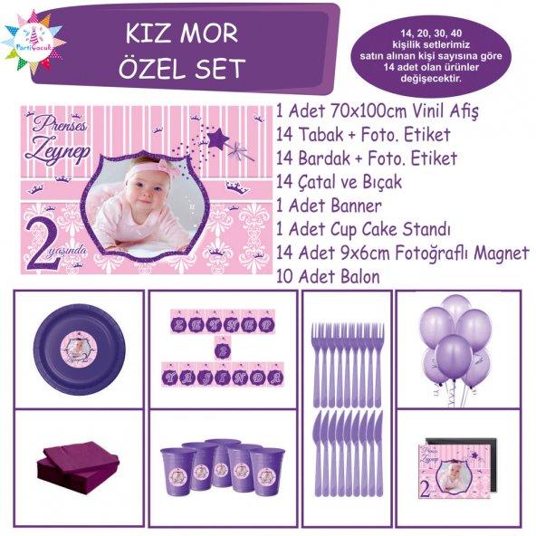 Doğum Günü Mor Pembe Prenses Özel Set | Parti Çocuk