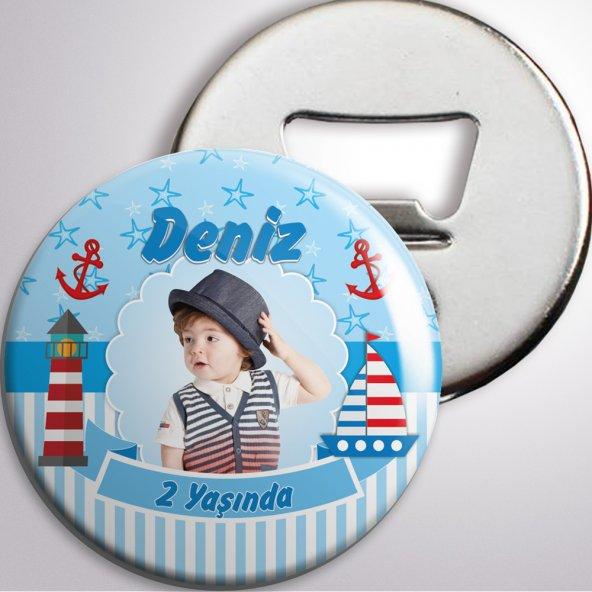 Erkek Çocuğu Doğum günü açacaklı magnet denizci konsept