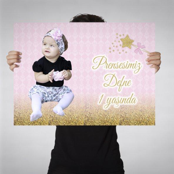 Doğum Günü Kız Çocuğu Afiş Resimli ve İsimli