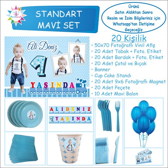 1 Yaş Tren Erkek Çocuğu Doğum Günü Standart Set