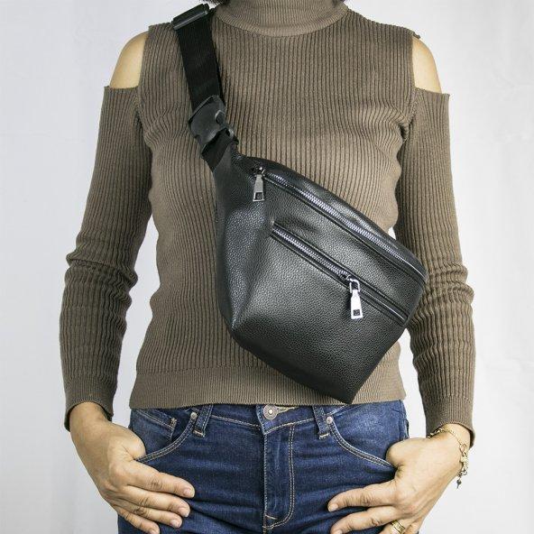 Bel Çantası Siyah Çift Fermuarlı Fashion Moon Marka