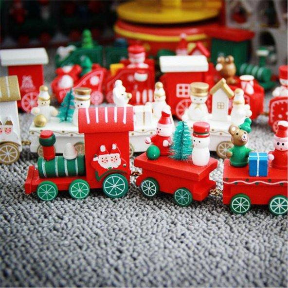 Ahşap Oyuncak Kırmızı Tren Dekoratif Ahşap Süs Tren Vagon