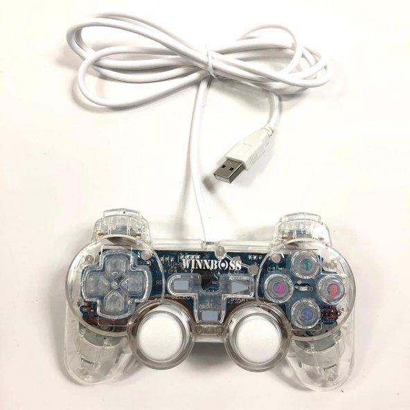 Winnboss Oyun Kolu USB 2.0 Giriş Şeffaf Işıklı Titreşimli Analog