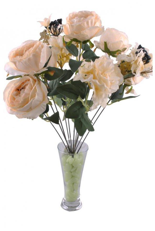11 Dallı 50 cm Boy Damarlı Gül Yapay Çiçek Beyaz-CK007BZ