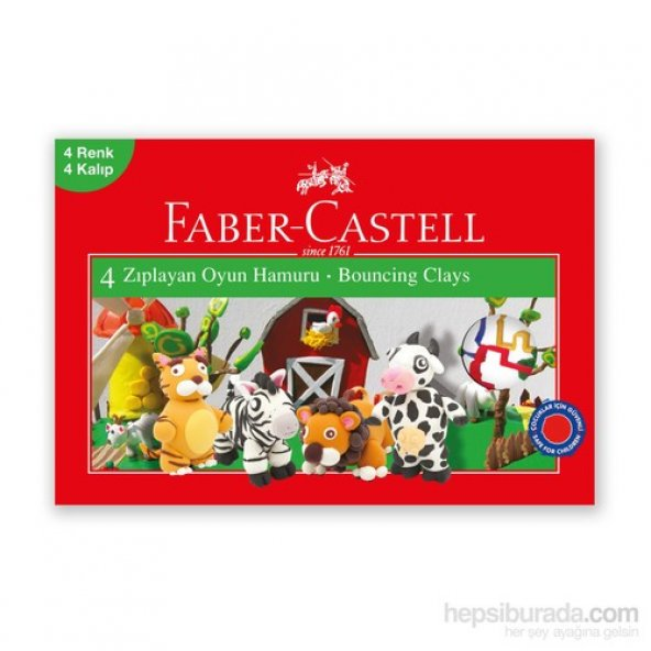 Faber-Castell Su Bazlı Zıplayan Oyun Hamuru 4 Renk