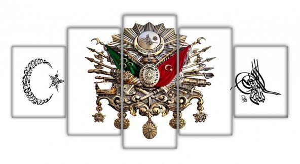 5 Parça Ayyıldız Osmanlı Devlet Armalı Tuğralı Kanvas Tablo