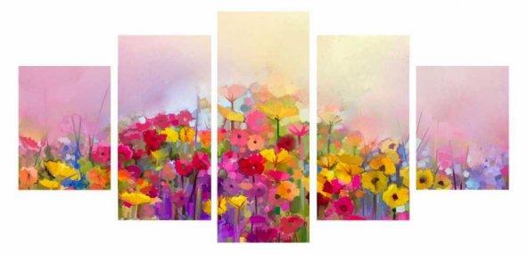 5 Parça Çiçek Temalı Kanvas Tablo (Model-2)
