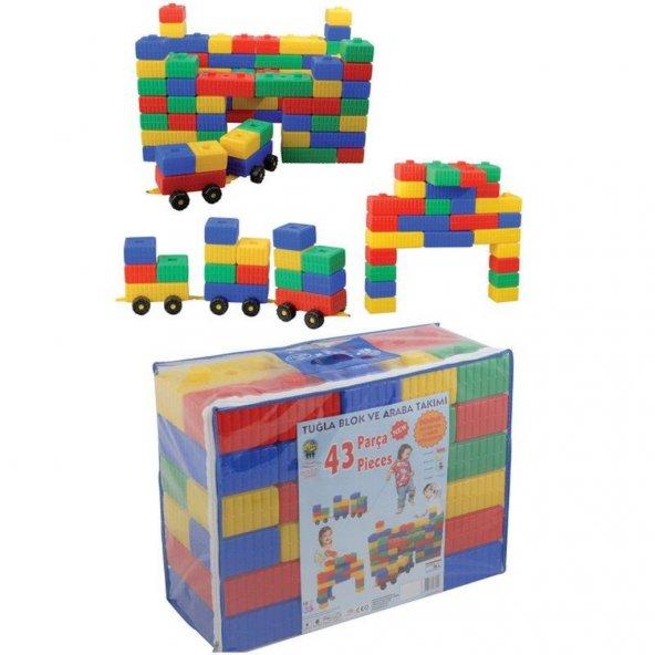 Pilsan Tuğla Blok Ve Araba Seti 43 Parça Lego Eğitici Oyun