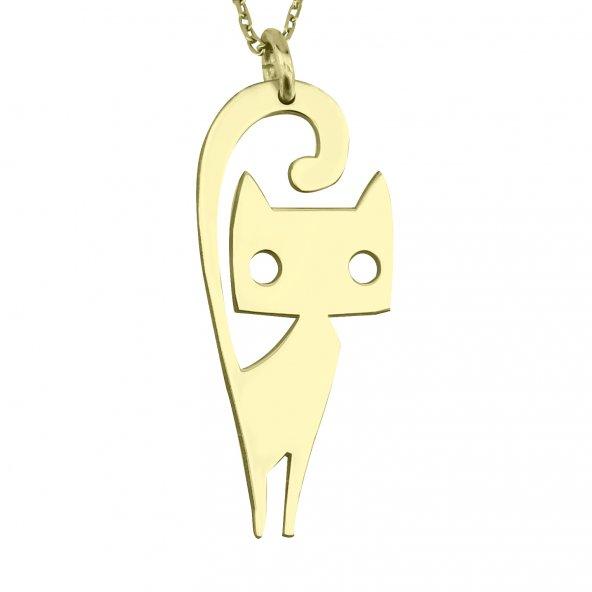 Kedi Gümüş Kolye Hayvan Figür Gümüş Kolye