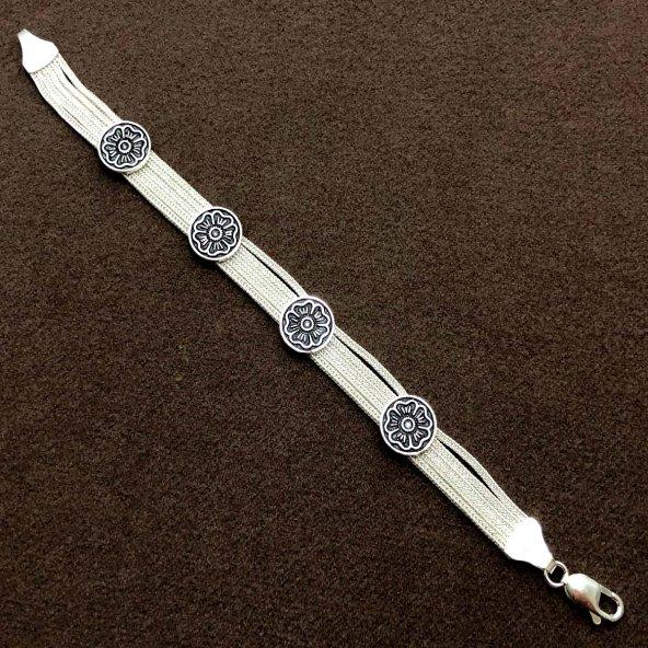 Çicek Model 925 Ayar Gümüş Hasır bayan Blieklik