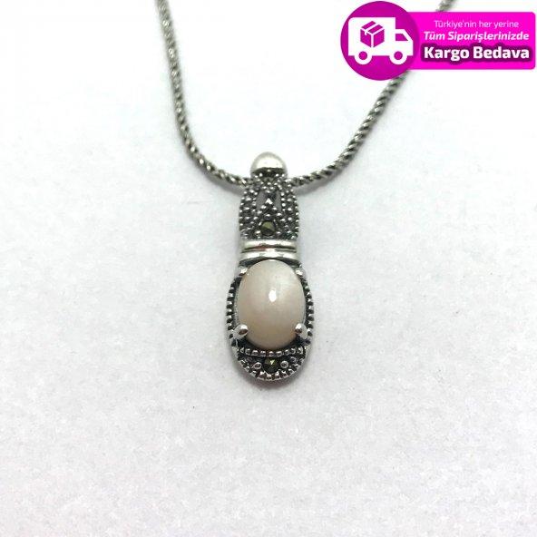 Sedef Ve Markazit Taşlı 925 Ayar Gümüş Bayan Kolye