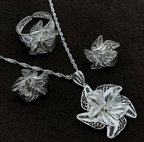 Çiçek Model Gümüş Bayan Telkari Üçlü Set