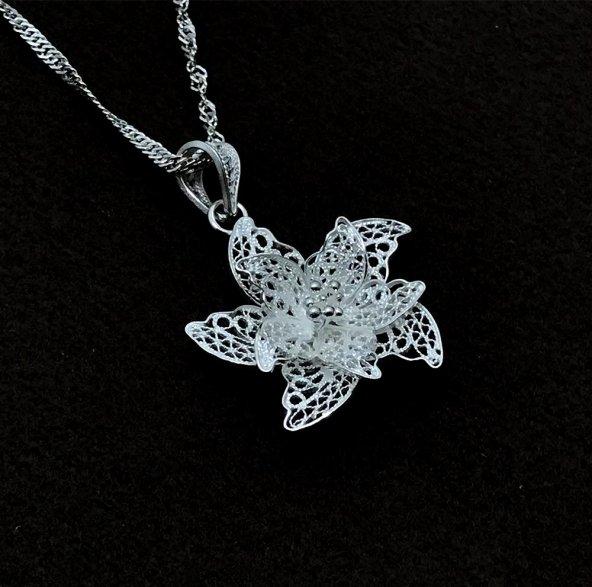 Çiçek Model Gümüş Bayan Telkari Kolye