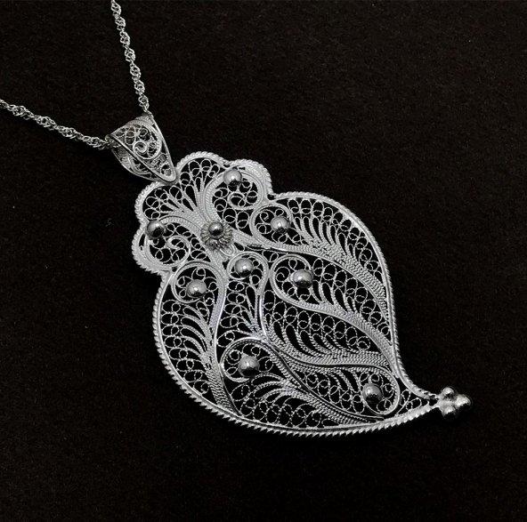 Baykuş Oturuşu Model Gümüş Bayan Telkari Kolye
