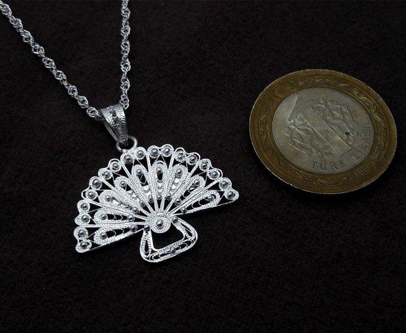 Yelpaze Model Midyat Telkari El İşçiliği Gümüş Bayan Kolye