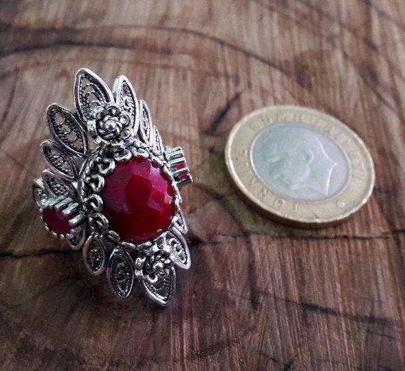 Akik Taşlı Midyat Telkari El İşçiliği Oksitli Gümüş Bayan Yüzük