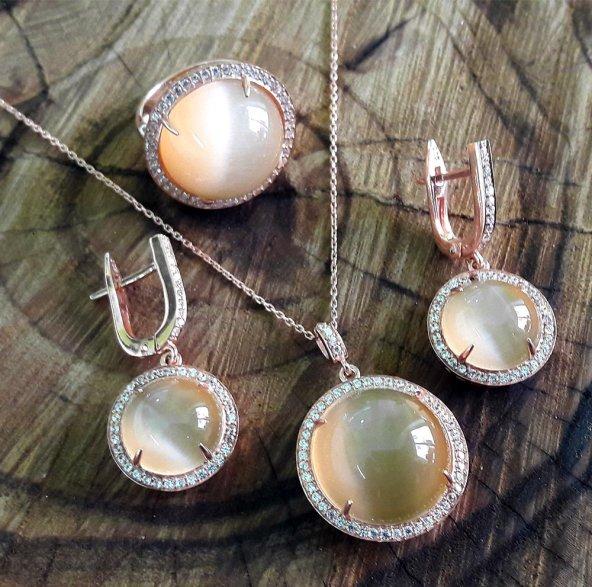 Yuvarlak Model Rose Kaplama Kedigözü ve Zirkon Taşlı Gümüş Set