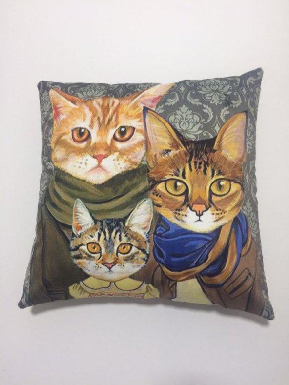 Nevresim Dünyası 3D Dekoratif Kırlent Kılıfı – Gangster Cats
