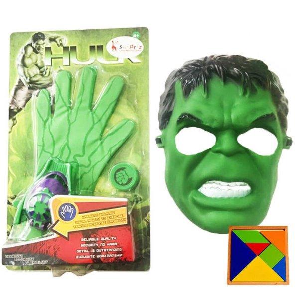 Hulk Eldiven + Maske Oyuncak Set - Taso Atan Hulk Eldiven + Maske