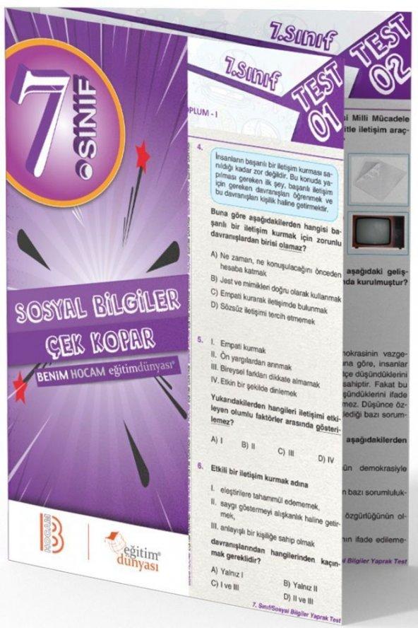 Benim Hocam Yayınları 7. Sınıf Sosyal Bilgiler Çek Kopar Yaprak Test