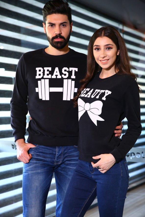 Sevgili Kombinleri Beast - Beauty Sweatshirt Siyah