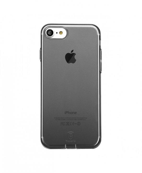 Baseus (With-Pluggy) Simple serisi Kılıf iPhone 7/8 Şeffaf Siyah