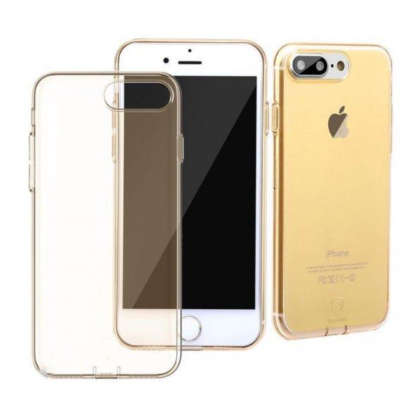 Baseus (With-Pluggy) Simple serisi Kılıf iPhone7Plus/8Plus Şeffaf Gold