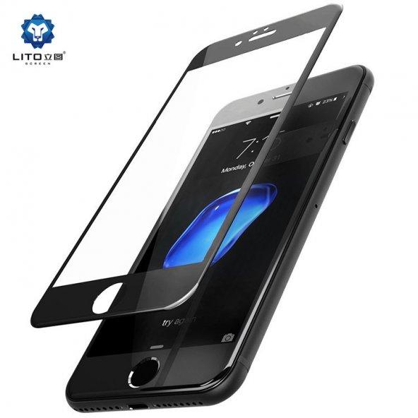 Lito Apple iPhone 7 Plus / 8 Plus 3d Cam Ekran Koruyucu Siyah