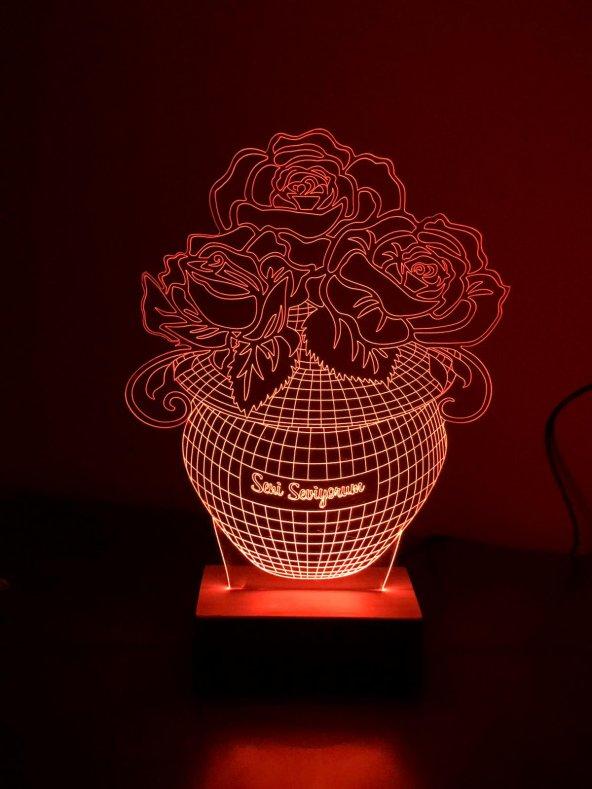 3D 3Boyutlu Güllü Vazo Kişiye Özel Kumandalı 16 Renk LED