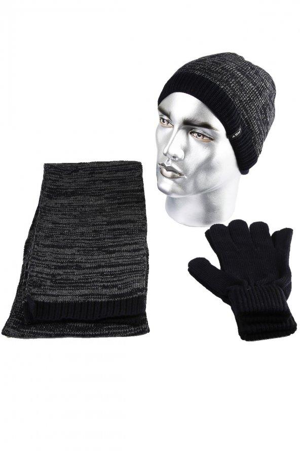 Siyah - Gri Dalgalı Atkı Bere Eldiven Takım K75