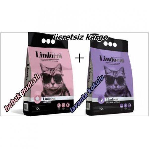Lindo cat ince taneli bebek pudralı 10 lt + Lindo cat ince taneli lavanta kokulu 10lt kedi kumu