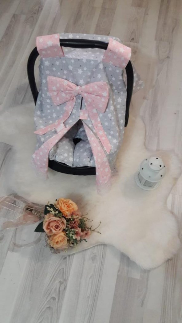 Bebe Puset Minderi ve Örtüsü İkili Set - pom004