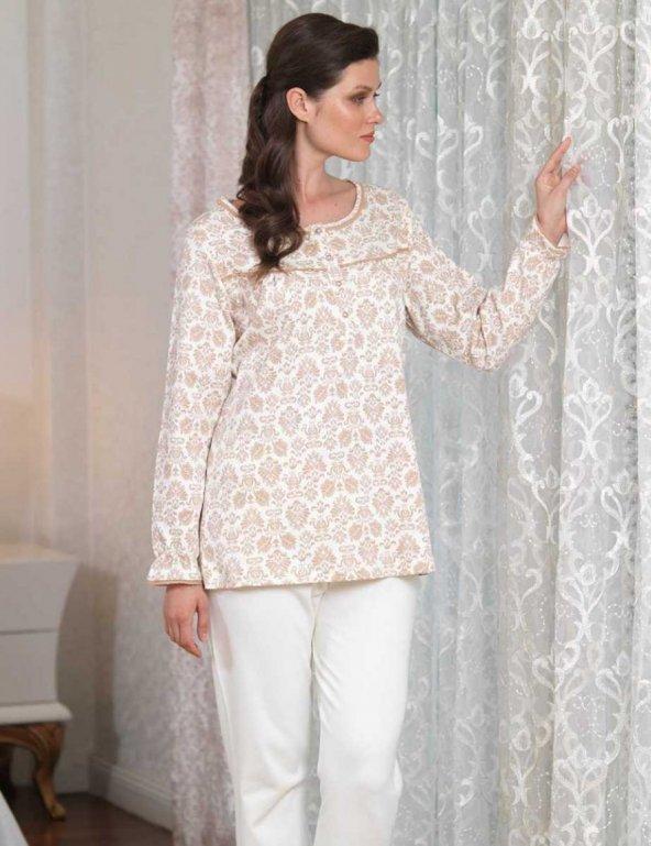 Şahinler Düğmeli Bayan Pijama Takımı Ekru MBP23104-1