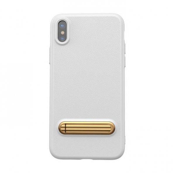 Baseus Kickstand iPhone X Beyaz Kılıf Arka Koruyucu Kapak