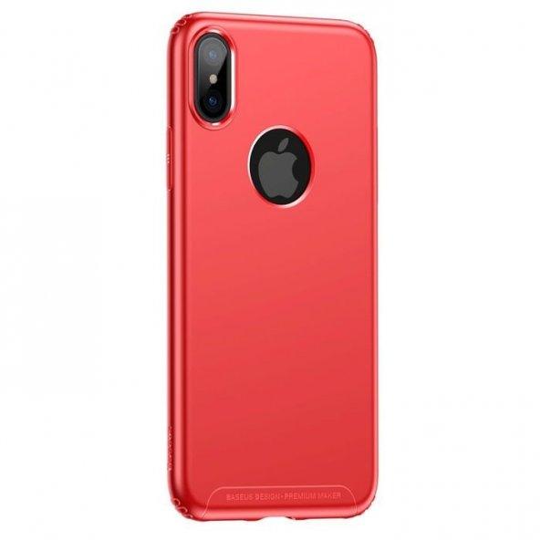 Baseus Soft İnce Silikon iPhone X Kırmızı Kılıf Arka Koruyucu Kapak