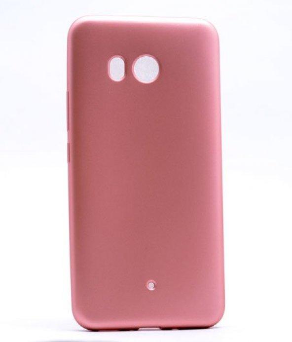 HTC U11 Kılıf Silikon Premium Kapak Rose Gold + Kırılmaz Cam Ekran Koruyucu