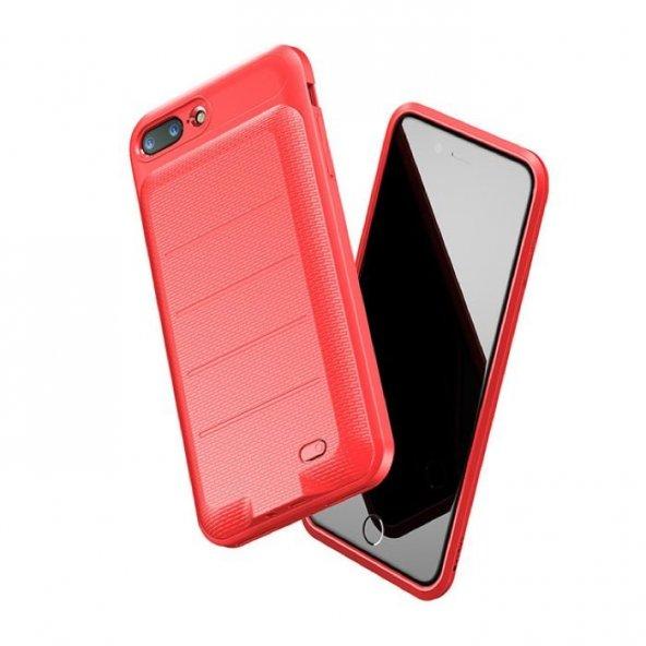 Baseus Plaid iPhone 7 Plus - 8 Plus Kırmızı Şarjlı Kılıf Arka Koruyucu Kapak 3600mAh