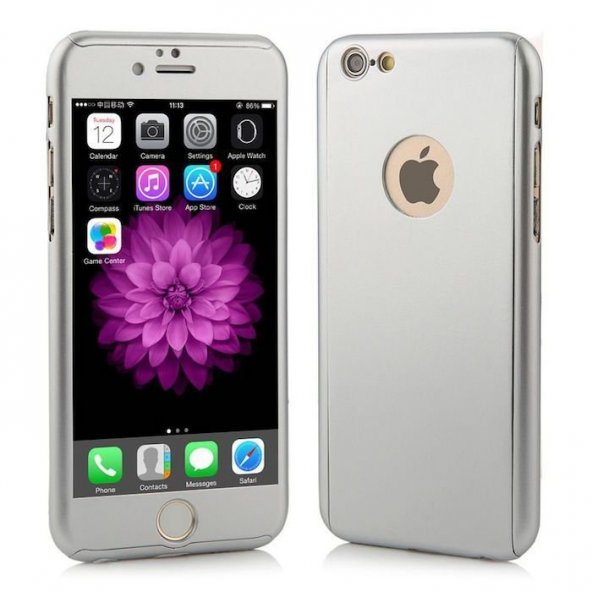 Apple iPhone 6 6S 360 Gümüş Gri Koruma Kılıf Arka Koruyucu Kapak
