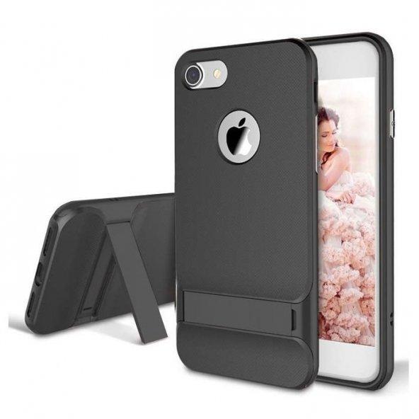 Gizli Stand Ayaklı Siyah Apple iPhone 7 Kılıf Arka Koruyucu Kapak