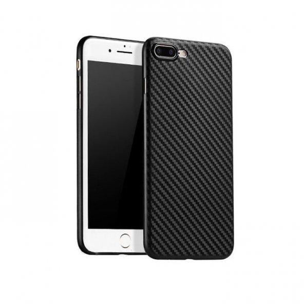 Apple iPhone 8 Plus İnce Karbon Kılıf Arka Koruyucu Kapak Siyah