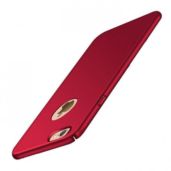 Apple iPhone 8 Süet Yüzeyli Kırmızı İnce Kılıf Arka Koruyucu Kapak