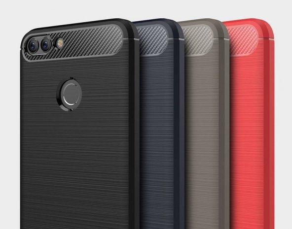 Huawei P Smart Kılıf Kap Rusk Silikon Kapak + Kırılmaz Cam Ekran Koruyucu